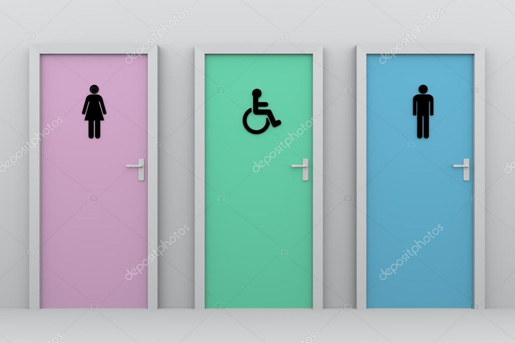 puertas de baño para mujeres y hombres y personas con discapacidad ... - Puertas De Bano Para Discapacitados