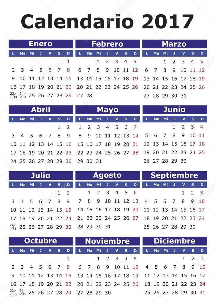 Photography Calendar 2017 : Spanish calendar — stock vector alfonsodetomas