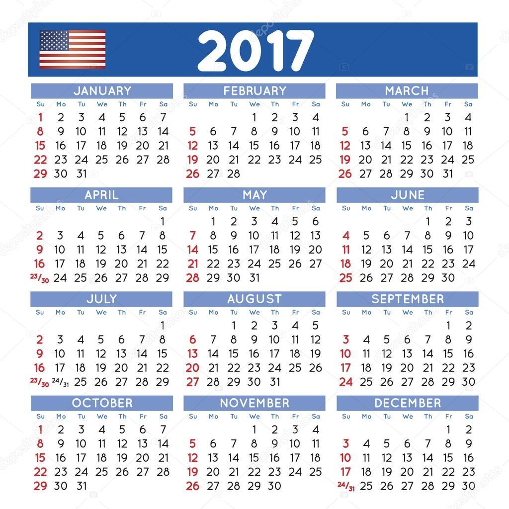 squared 2017 calendario inglés vector de stock alfonsodetomas