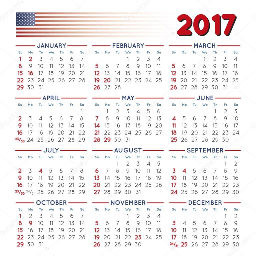Calendario Festivo.2017 Squared Usa De Calendario Festivo Vector De Stock