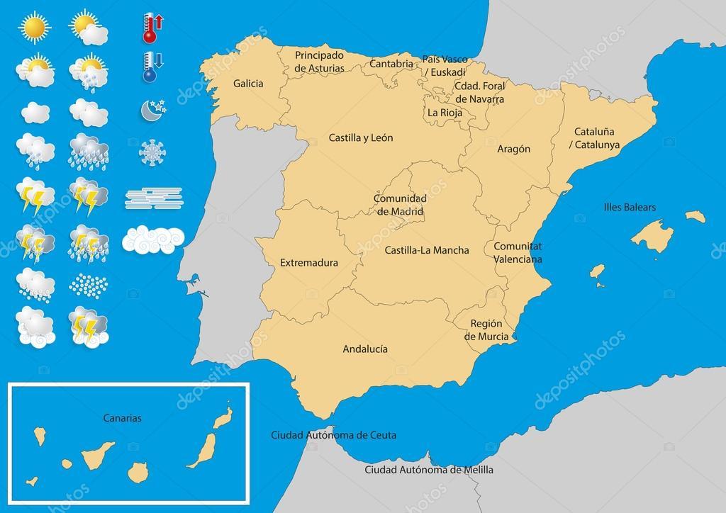 Espagne Carte météo — Image vectorielle alfonsodetomas © #98358232
