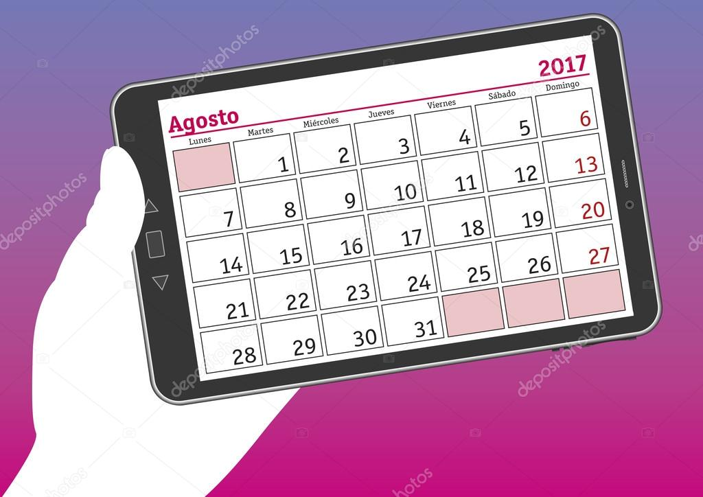 Calendario Per Pc.Tablet Pc Con Un Foglio Del Calendario Di Agosto 2017 In