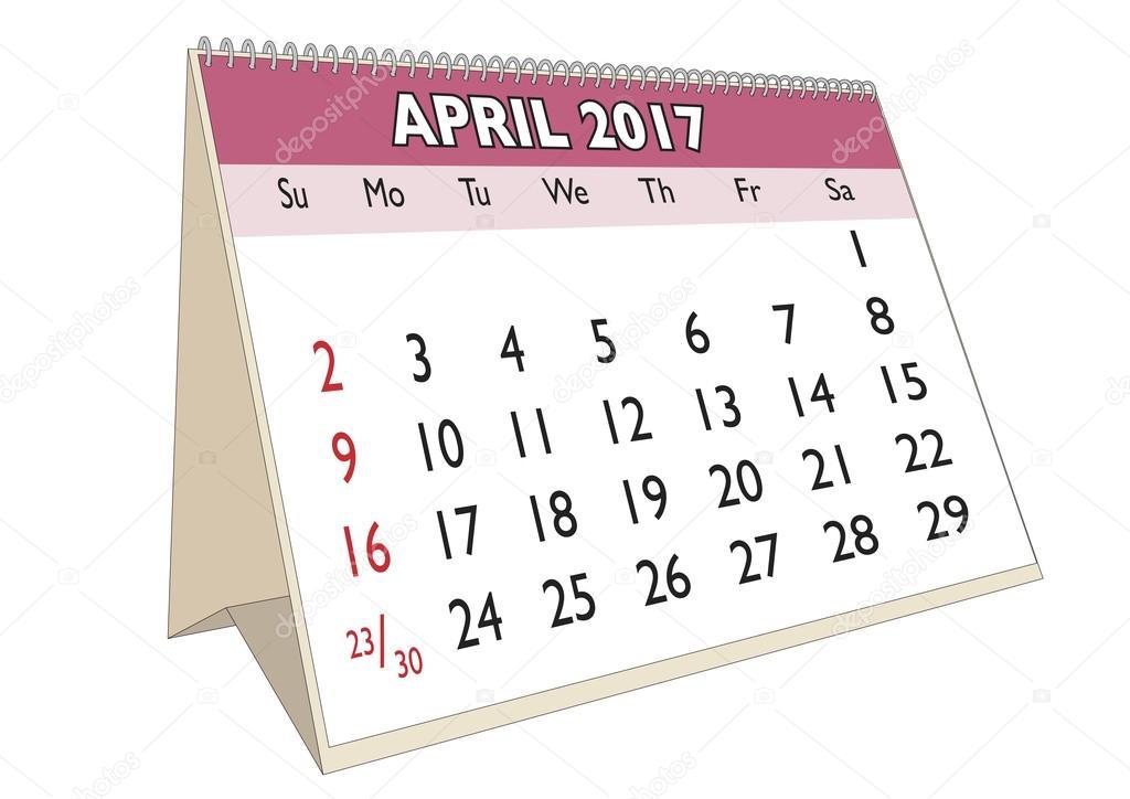 Calendario da tavolo aprile 2017 con giorni festivi stati uniti d 39 america vettoriali stock - Calendario 2017 da tavolo ...