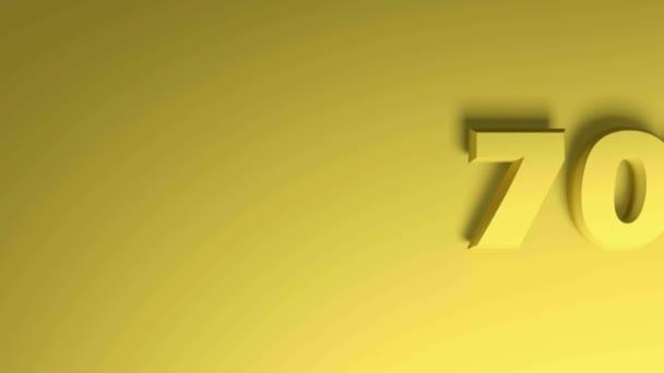 70 Prozent schreiben auf gelbem Hintergrund - 3D-Rendering-Videoclip-Animation