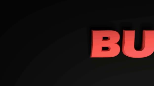 Psaní BUSY předává na černém pozadí - 3D vykreslování video klip