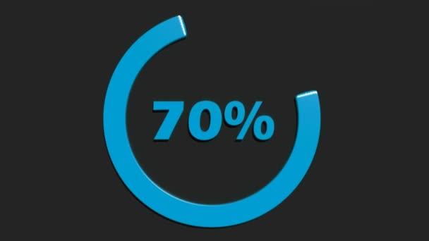 Ein blauer Kreis, der sich um 70% dreht, schreibt, in blau, auf schwarzem Hintergrund - 3D-Rendering-Videoclip-Animation