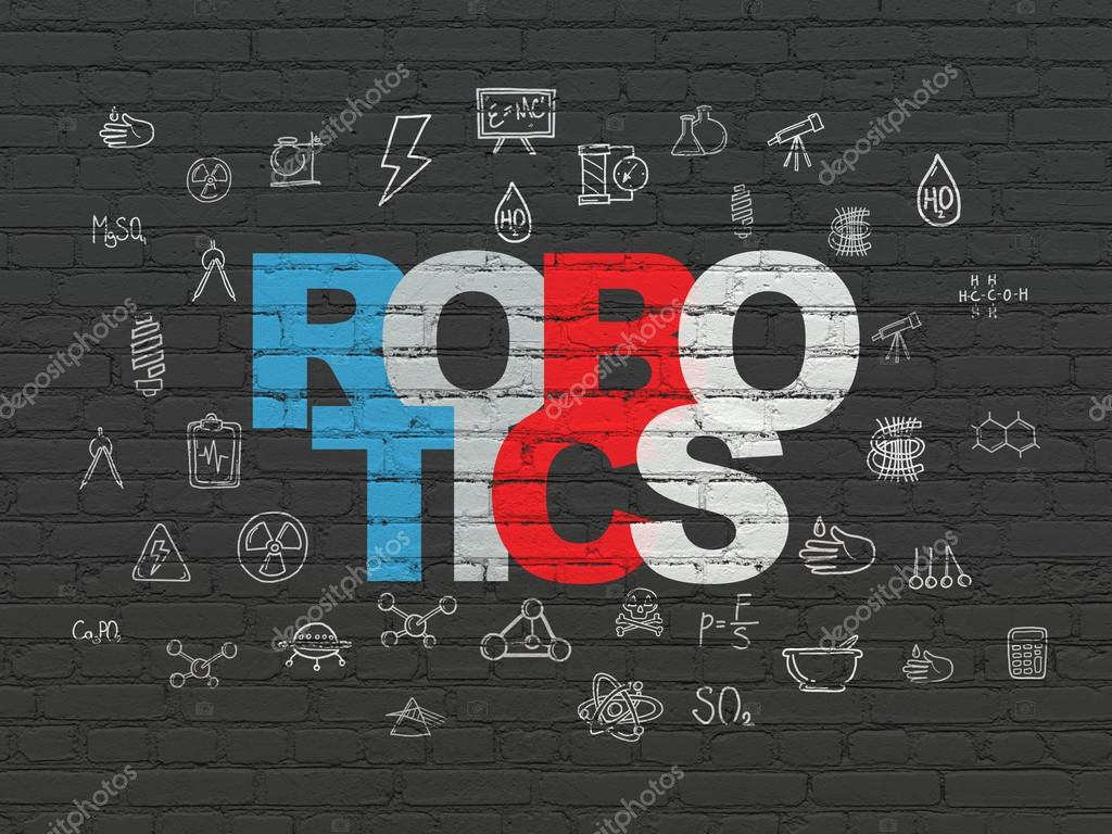 Science Concept Robotics On Wall Background Stock Photo