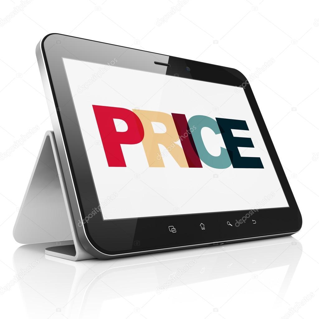 shoes for cheap first rate low priced Concepto de marketing: Tablet PC con precio en pantalla ...