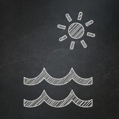 Travel concept: Beach on chalkboard background