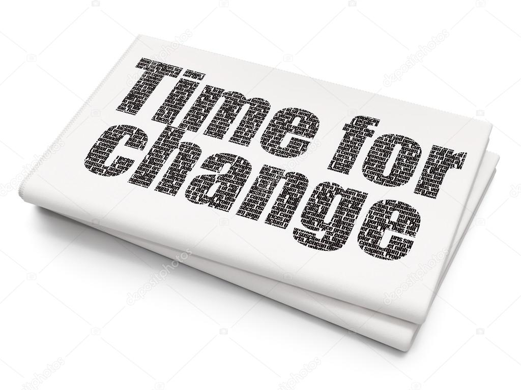 Timeline Concept Time For Change On Blank Newspaper Background