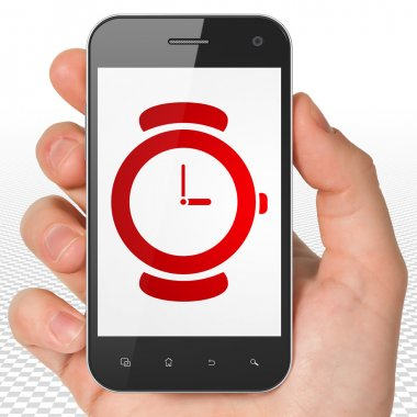 Timeline concept: Hand Holding Smartphone with Hand Watch on display
