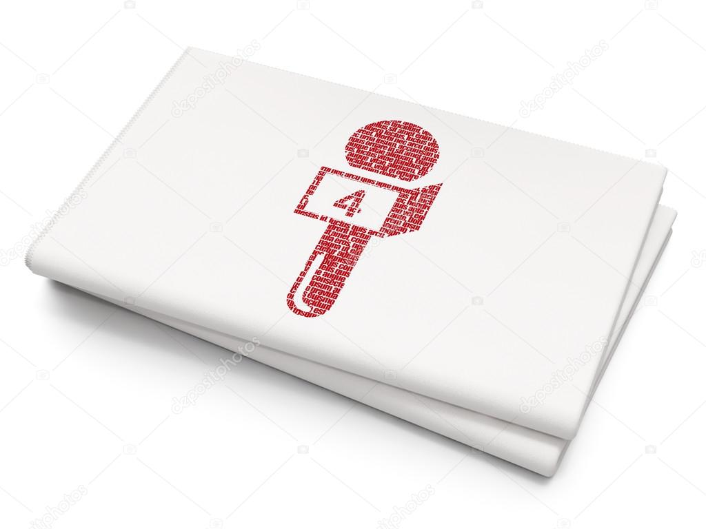News Concept Microphone On Blank Newspaper Background Stockfoto