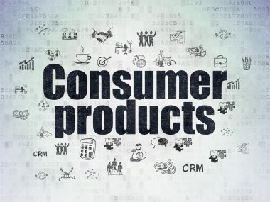 Business concept: Consumer Products on Digital Data Paper background