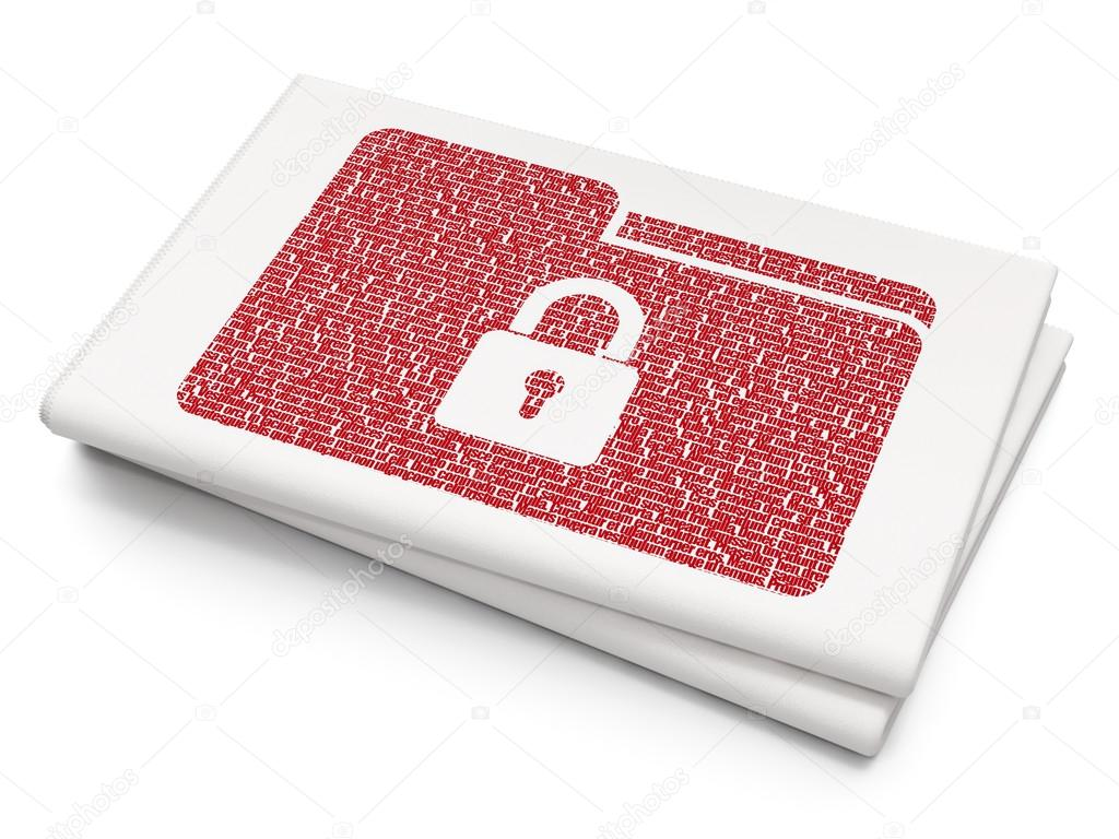 Business Concept Folder With Lock On Blank Newspaper Background
