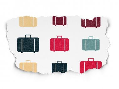 Tourism concept: multicolor Bag icons on Torn Paper background