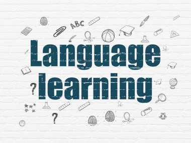 Education concept: Language Learning on wall background