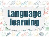 Fényképek Oktatási koncepció: nyelvtanulás szakadt papír alapon