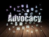 Law concept: Advocacy in grunge dark room