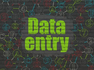 Data concept: Data Entry on wall background