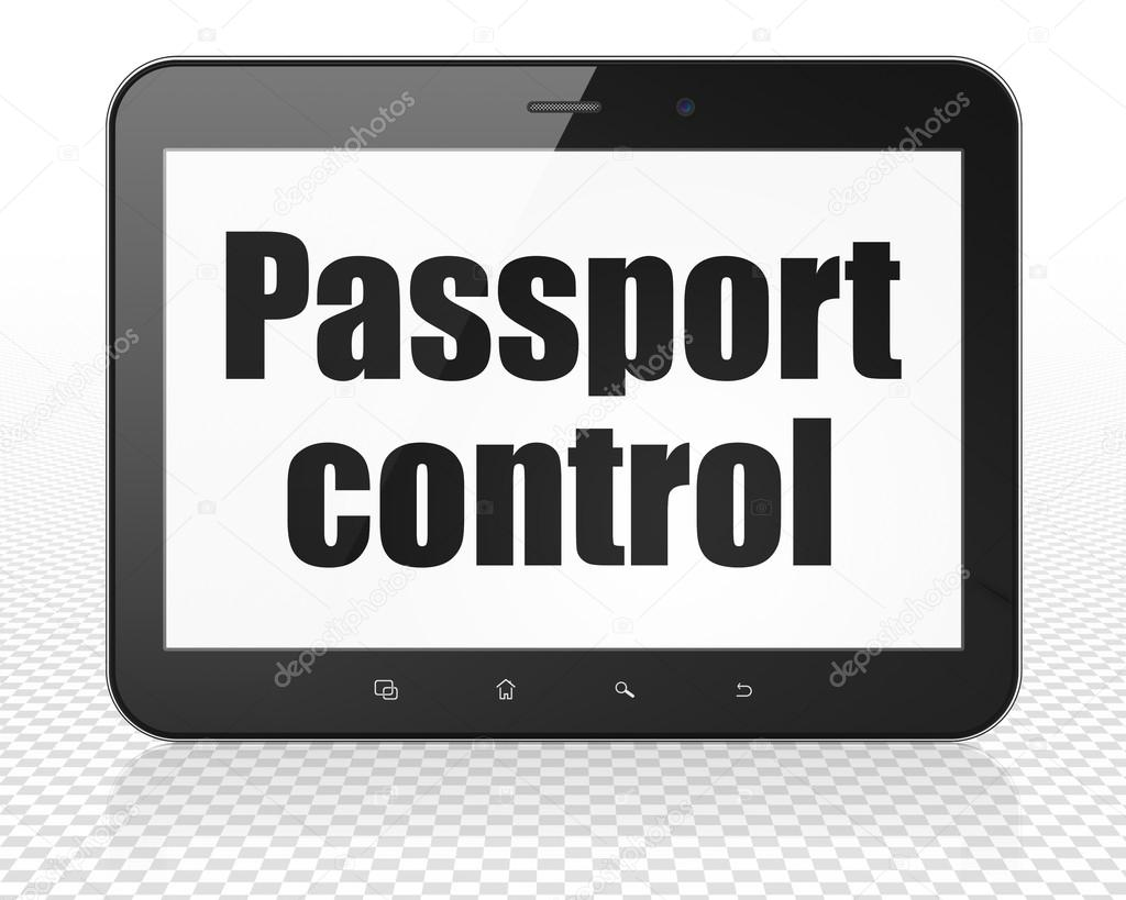 Travel concept: Passport Control on Tablet Pc Computer display