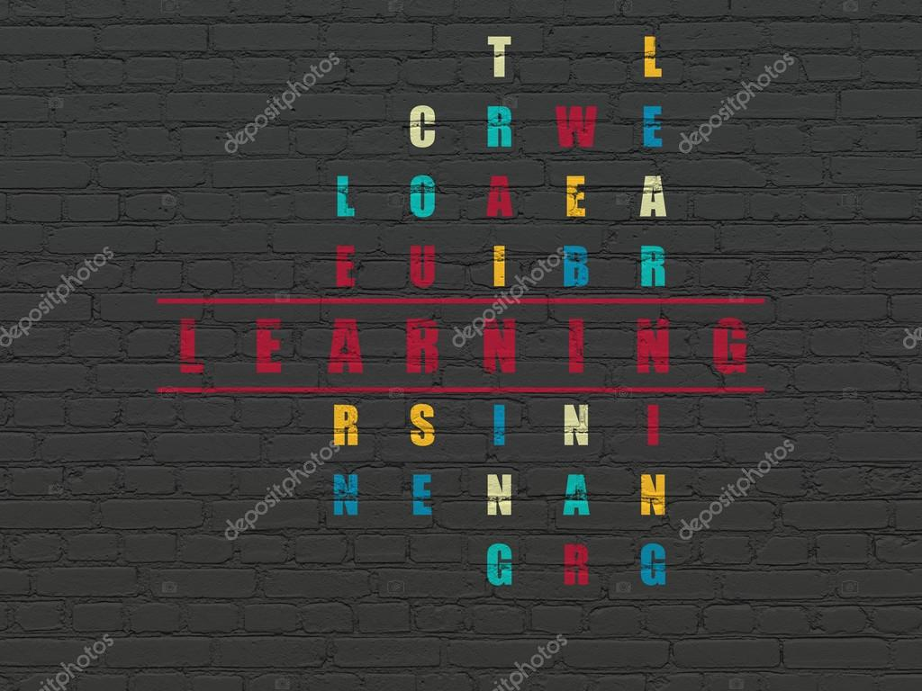 Education concept: word Learning in solving Crossword Puzzle