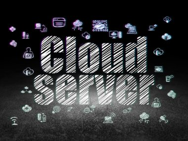 Cloud technology concept: Cloud Server in grunge dark room