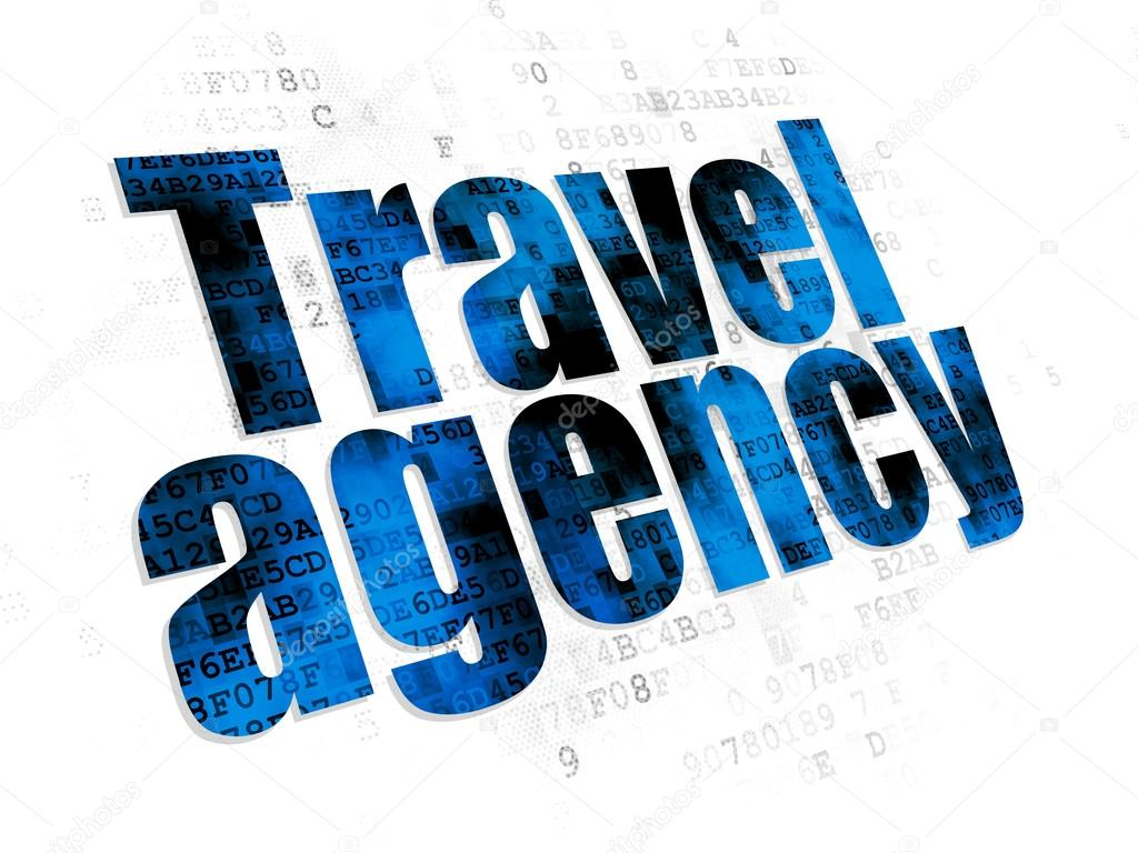 travel concept travel agency on digital background stock photo