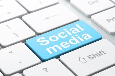 Social media concept: Social Media on computer keyboard background