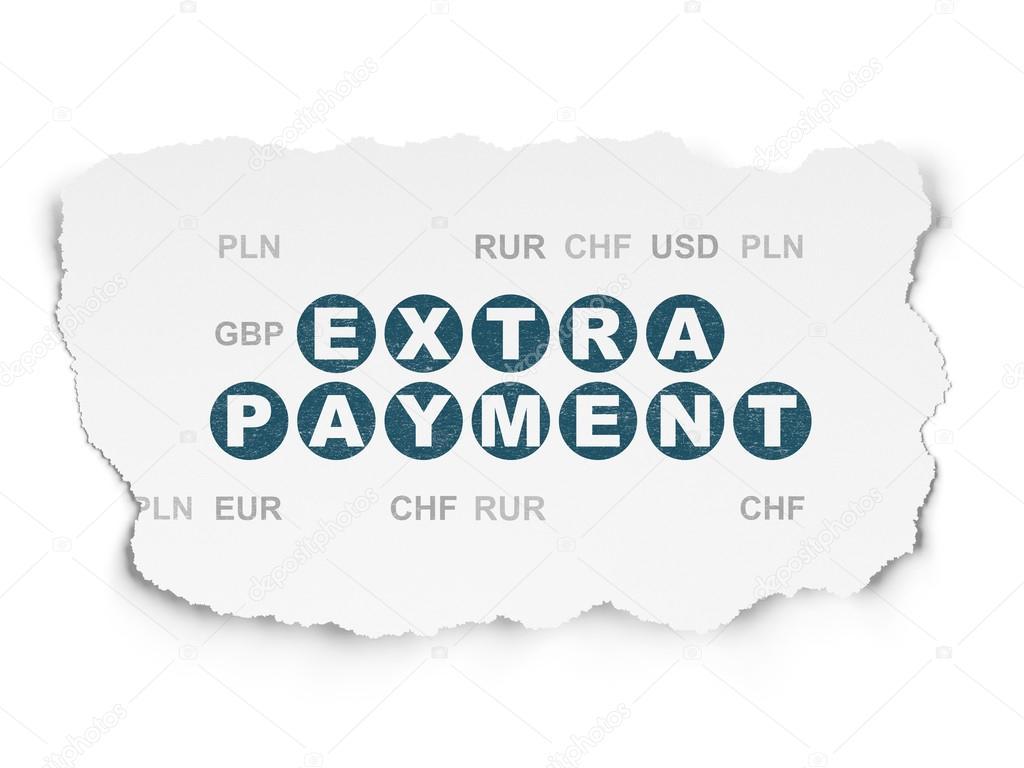 conceito de serviços bancários pagamento extra sobre fundo de papel