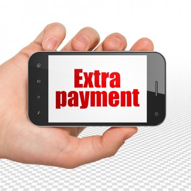 Money concept: Hand Holding Smartphone with Extra Payment on display