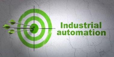 Industry concept: target and Industrial Automation on wall background