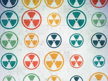 Science concept: Radiation icons on Digital Paper background