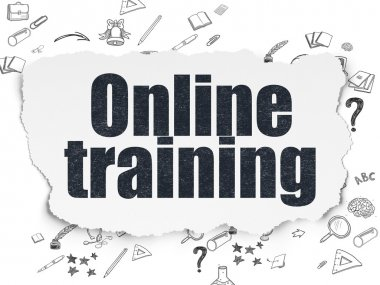 Education concept: Online Training on Torn Paper background