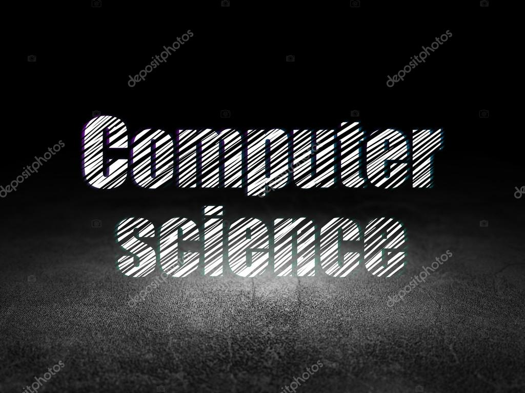 Science Concept Glowing Text Computer In Grunge Dark Room With Dirty Floor Black Background Photo By Maxkabakov