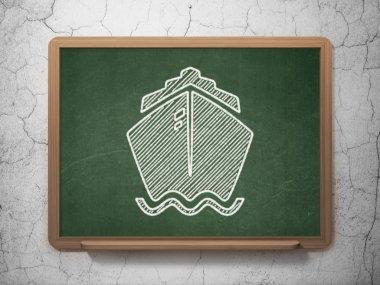 Tourism concept: Ship on chalkboard background
