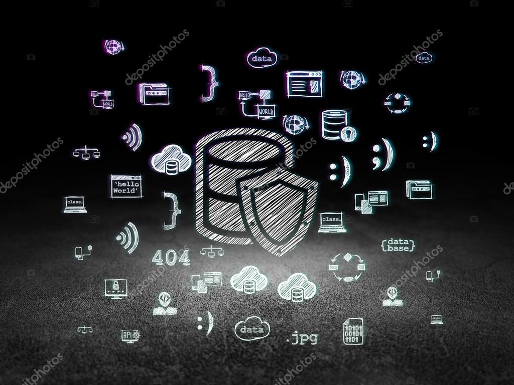 Concepto de programación: base de datos con escudo en cuarto oscuro ...