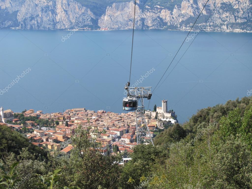 Cable Car Malcesine Monte Baldo On Lake Garda Stock Photo
