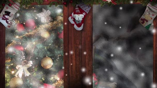 Weihnachten schneit, Baum schmückt Fenster