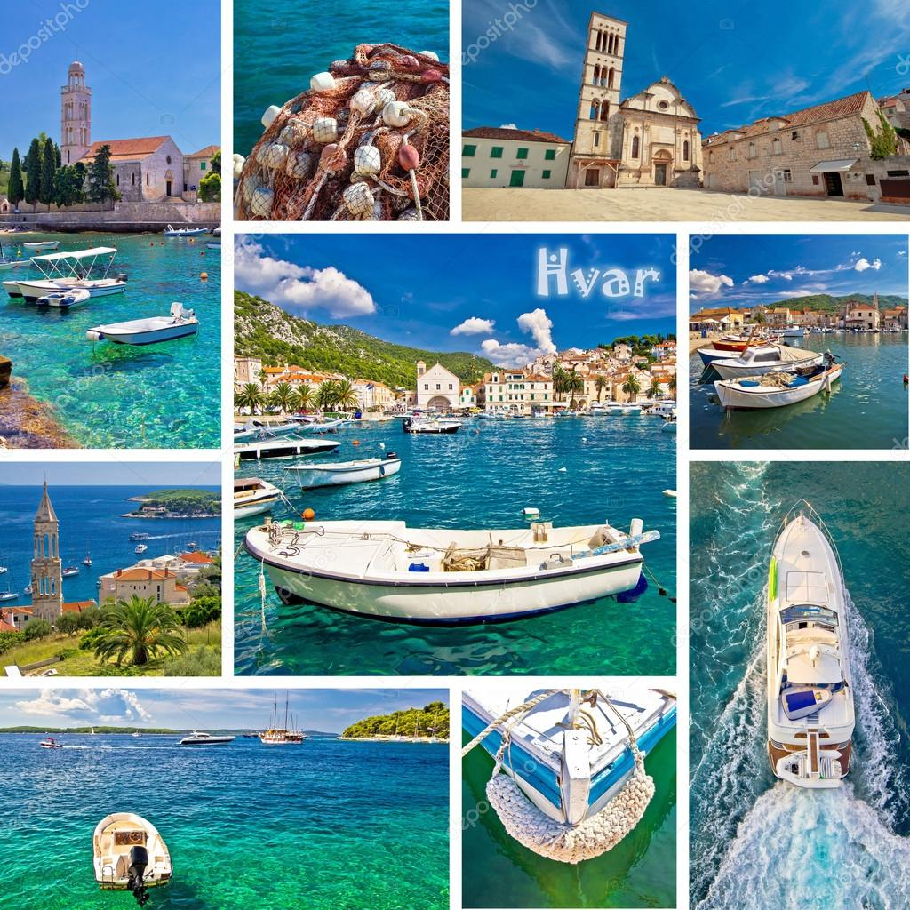 Hvar Island Tourist Destination Collage Stock Photo