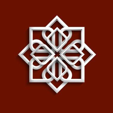 White 3d ornament in arabic style