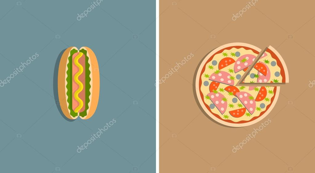 Icons of pizza and hot dog