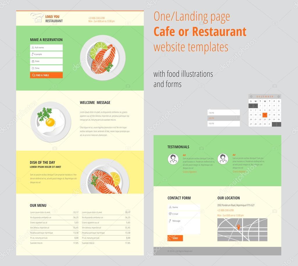 Página de inicio/uno Cafe o restaurante sitio web plantillas con ...