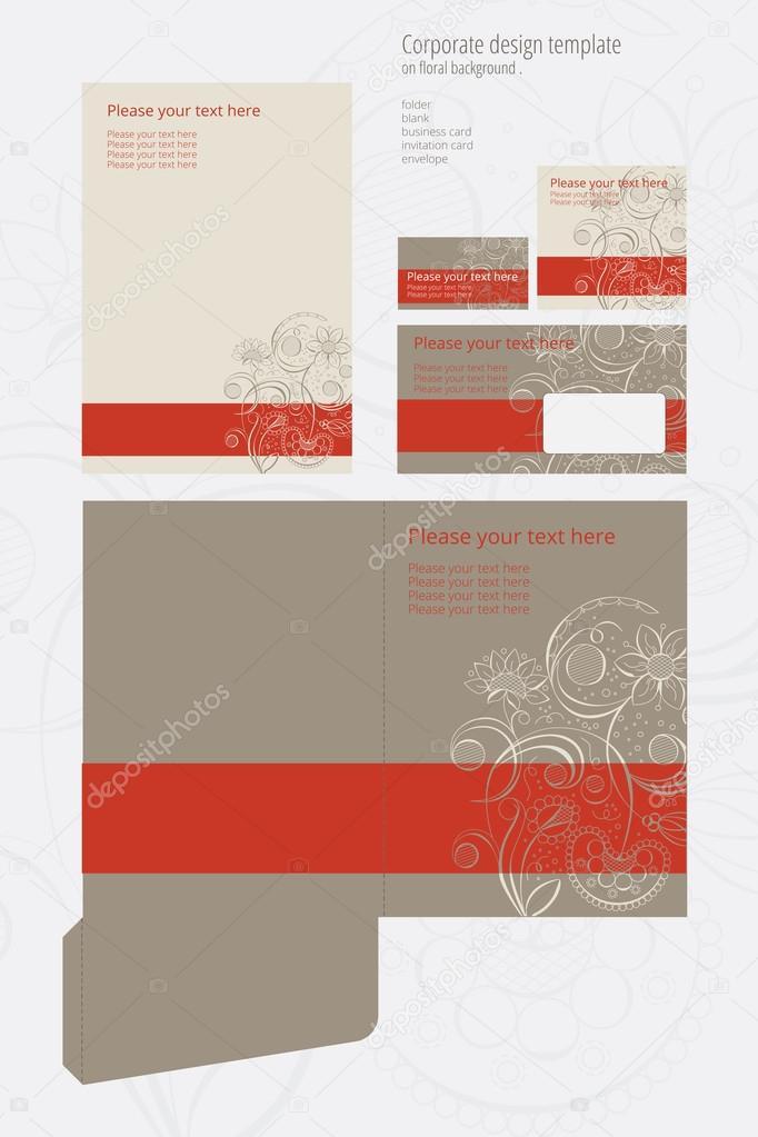 Corporate design template on floral background: folder, blank, business card, invitation card, envelope