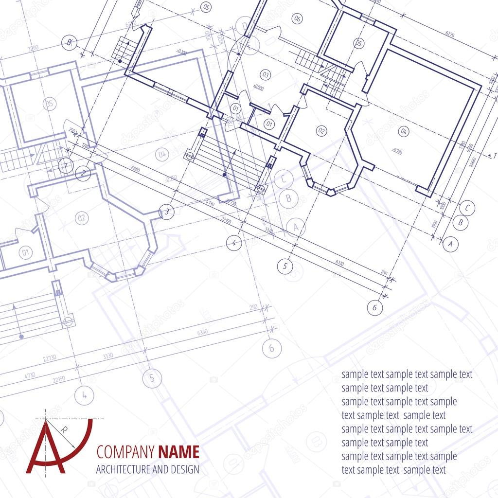 Architectural vector background blue building plan for Architecture and design firms