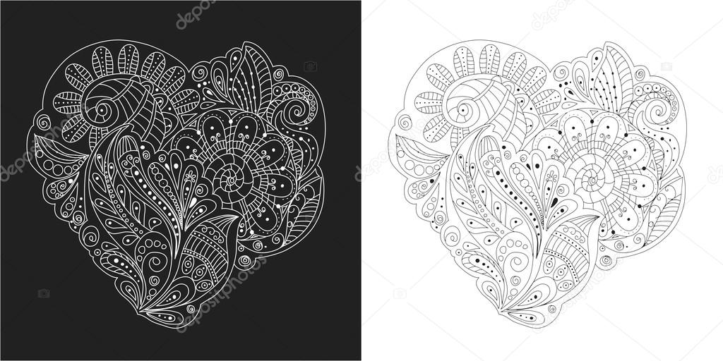 Mano de zentangle dibujo elemento blanco y negro flores, hojas y ...