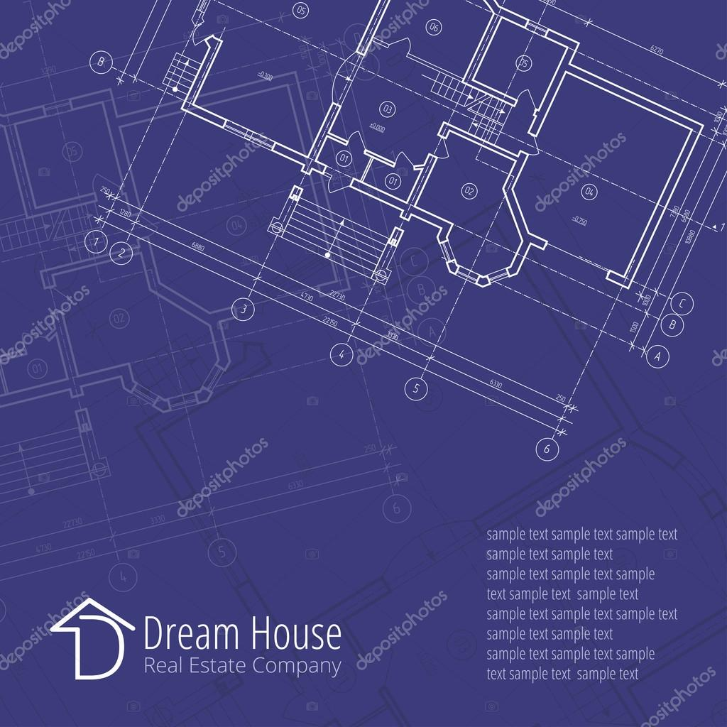 Architectural vector background building plan silhouette on blue architectural vector background building plan silhouette on blue background and d dream house real estate ccuart Gallery