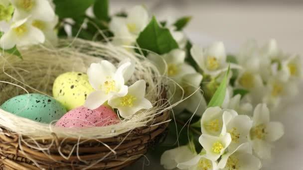 Frohe Ostern. Bemalte Eier in einem Korb mit blühenden Jasminblüten. Nahaufnahme eines dekorativen Nestes mit gefärbten Eiern für die Osterfeiertage im Kreis.