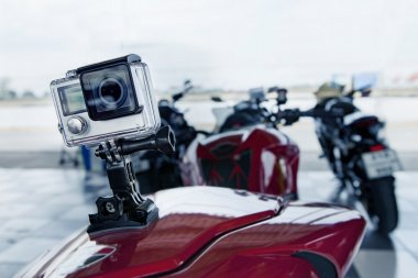 action camera spot mounted on rear of sport motorcycle