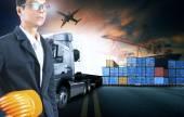 obchodní muž pracuje v námořní přístav využití pro logistické a nákladu