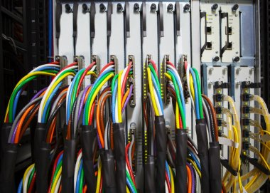 Arrangement stack of colorful electronic cable wire socket hub i